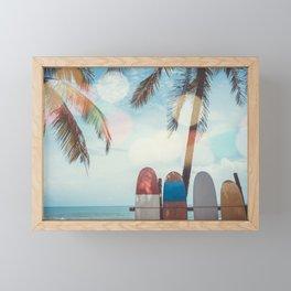 Surf Life Tropical Coastal Landscape Surfboard Scene Framed Mini Art Print