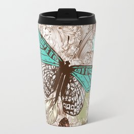 Beautiful print with hand drawn butterflies in vintage style Travel Mug