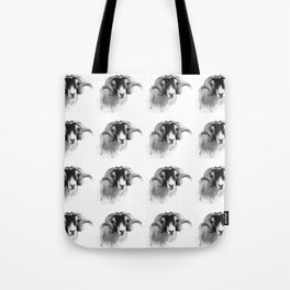 Tiled black and white moorland sheep Tote Bag