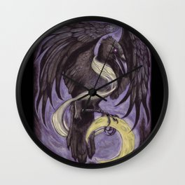 Moon Raven Wall Clock