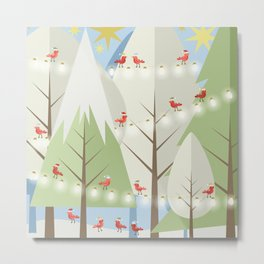 Holiday Winter Scene with Red Bird Santas and Glowing Lights in a Christmas Tree Forest Metal Print