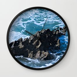 Stormy Sea Coastal Eroded Rock Wall Clock