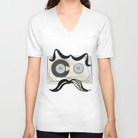 tape V-neck T-shirts featuring Tape Masculine by Texnotropio