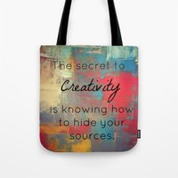 creativity Tote Bags featuring Creativity by My Joie De Vivre