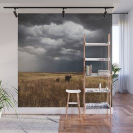 Life on the Plains - Cow Watches Over Playful Calf in Oklahoma Wall Mural