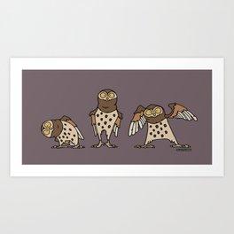 Owls no 2 - purple Art Print