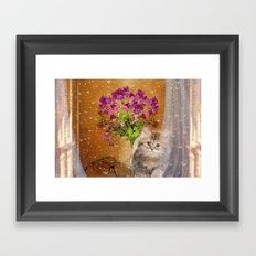 RAINY DAY KITTEN Framed Art Print
