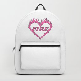 Pink Fire Heart Aesthetic Backpack