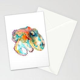 Orange Turquoise Octopus Stationery Cards