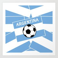 argentina Art Prints featuring Argentina Football by mailboxdisco