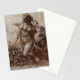 Woman and goose - Leonardo Da Vinci Stationery Cards