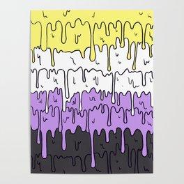 Cute Pride Pastel Melting Pride Design, Non Binary flag Poster