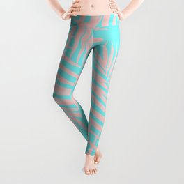 Abstract modern pink Tropical Exotic Palm Leaves on aqua Leggings