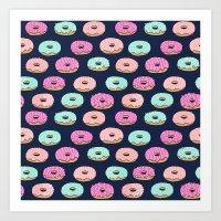 Donuts pattern pink doughnut cute food print by andrea lauren Art Print