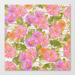 Rustic white wood pink lavender coral watercolor floral Canvas Print