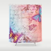 butterflies Shower Curtains featuring butterflies by haroulita