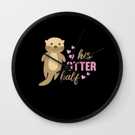 His Otter Half Sweet Otter Love Romantic Heart Wall Clock