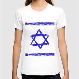 flag of israel 9- יִשְׂרָאֵל ,israeli,Herzl,Jerusalem,Hebrew,Judaism,jew,David,Salomon. T-shirt