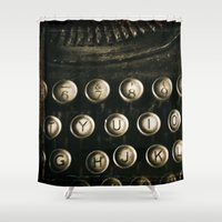 typewriter Shower Curtains featuring Typewriter by Sue VanHorsen