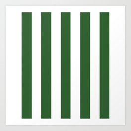 Mughal green - solid color - white vertical lines pattern Art Print