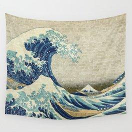 Brick Wall Painting Japanese Great Wave off Kanagawa - Urban Artist Wall Tapestry