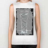 striped Biker Tanks featuring Striped Water by Steve Purnell