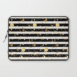 Stripes & Gold Splatter - Horizontal Laptop Sleeve