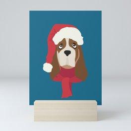 Basset Hound Christmas Dog Mini Art Print