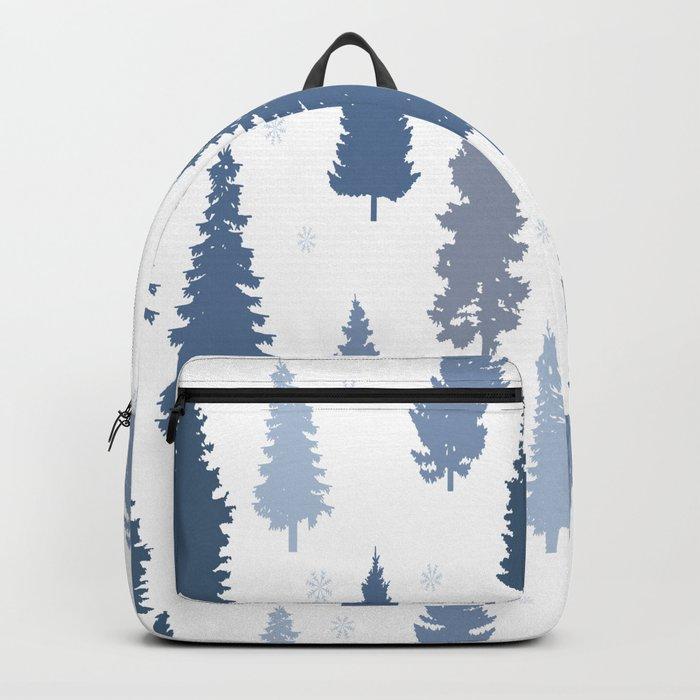Pines and snowflakes pattern Rucksack