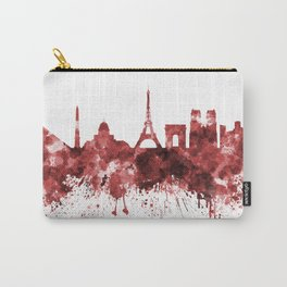 Paris skyline in red watercolor on white background Carry-All Pouch