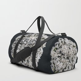 Fake Love White Floral Duffle Bag