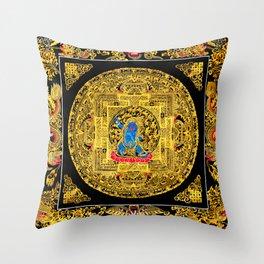 Buddhist Mahakala Mandala Golden Kalarupa Throw Pillow