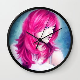 ' Pink Head ' - sensual lady digital oil portrait painting Wall Clock