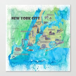 New York City Travel Poster Print Retro Favorite Map with Touristic Highlights Canvas Print