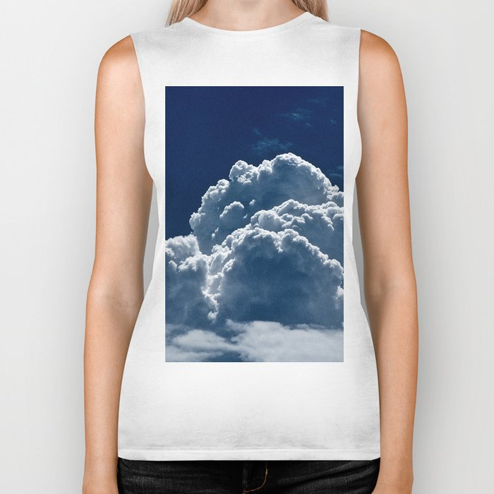 Puffy Cumulus clouds on Deep Blue Sky Biker Tank