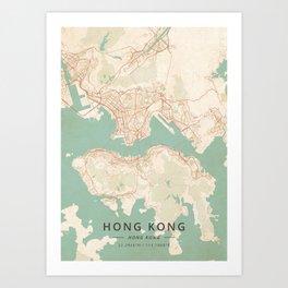 Hong Kong, Hong Kong - Vintage Map Art Print