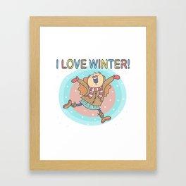 I Love Winter Girl Framed Art Print