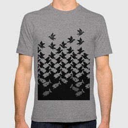 fish and birds tessellation art deco T-shirt