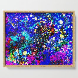 Abstract modern pink navy blue yellow white watercolor splatters Serving Tray