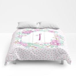 Monogram I - cute girls purple florals flower wreath, lilac florals, baby girl, baby blanket Comforters