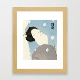 The heroine Umekawa in the snow, 1923 Framed Art Print
