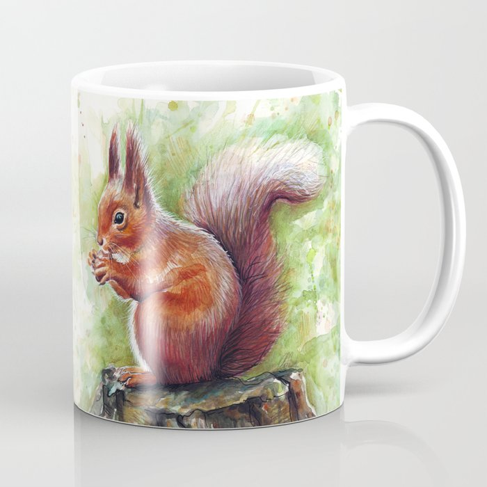 Squirrel and Nut Forest Animals Watercolor Coffee Mug