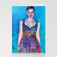 emma watson Stationery Cards featuring Emma Watson - Blue by André Joseph Martin