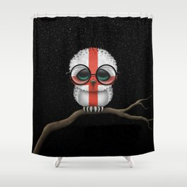 Baby Owl with Glasses and English Flag Shower Curtain