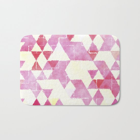 Abstract Pink Triangles, Watercolor Pattern Bath Mat