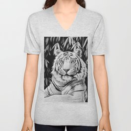 Endangered White Tiger Unisex V-Neck
