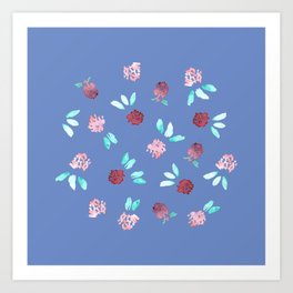 Clover Flowers on Periwinkle Blue Art Print