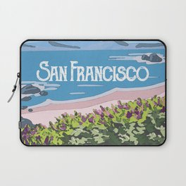 San Francisco, California Beach Succulents Illustration Laptop Sleeve