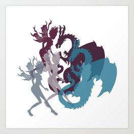 Fairies and Dragons Art Print