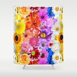 Rainbow Digital Floral Shower Curtain
